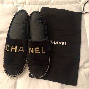 NWOT Authentic Chanel velvet espadrilles